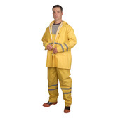 HV353YL RIPTIDE™.35 MM PVC/POLYESTER  YELLOW  3-PIECE RAIN SUIT  SILVER REFLECTIVE STRIPES  STORM FLY FRONT WITH ZIPPER/SNAP BUTTONS  BIB PANTS WITH SUSPENDERS  DETACHABLE HOOD Cordova Safety Products