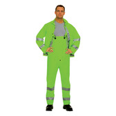 HV353GM RIPTIDE™.35 MM PVC/POLYESTER  HI-VIS LIME  3-PIECE RAIN SUIT  SILVER REFLECTIVE STRIPES  STORM FLY FRONT WITH ZIPPER/SNAP BUTTONS  BIB PANTS WITH SUSPENDERS  DETACHABLE HOOD Cordova Safety Products