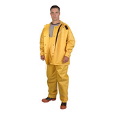 RSHB352YL JETSTREAM™ .30 MM PVC/POLYESTER/PVC  YELLOW 3-PIECE HYDROBLAST SUIT  HOOK & LOOP CLOSURES AT ALL OPENINGS  ZIPPER/SNAP BUTTONS  BIB PANTS WITH SUSPENDERS  THROAT GUARD  ATTACHED HOOD Cordova Safety Products
