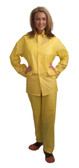 RS103YL VALUE-LINE™ .10 MM PVC  YELLOW 3-PIECE RAIN SUIT  OPEN FRONT WITH SNAP BUTTONS  ELASTIC WAIST PANTS  DETACHABLE HOOD Cordova Safety Products