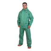 RS45GM APEX FR™ .45 MM GREEN PVC/NYLON SCRIM/PVC  GREEN 1-PIECE ACID/CHEMICAL SUIT  LIMITED FLAME RESISTANT  STORM FLY FRONT WITH ZIPPER/SNAP BUTTONS  ATTACHED HOOD Cordova Safety Products