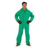 RS452G3XL APEX FR™ .45 MM GREEN PVC/NYLON SCRIM/PVC  2-PIECE ACID/CHEMICAL SUIT  LIMITED FLAME RESISTANT  STORM FLY FRONT WITH ZIPPER SNAP BUTTONS  BIB STYLE PANTS WITH SUSPENDERS  ATTACHED HOOD Cordova Safety Products