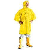 "RP10Y VALUE-LINE™ .10 MM SINGLE-PLY PVC PONCHO  ATTACHED HOOD & DRAWSTRING  YELLOW  SIZE 52""X 80"" Cordova Safety Products"