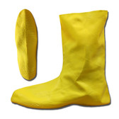LBC10S HAZMAT/NUKE BOOTS  .75 MM. NATURAL RUBBER  YELLOW  UNLINED  12-INCH LENGTH  RIBBED/TEXTURED SOLE Cordova Safety Products