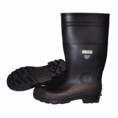 PB2209 BLACK BOOT WITH BLACK PVC SOLE  EVA INSOLE  STEEL TOE  COTTON LINED  16-INCH LENGTH  OVER-THE-SOCK STYLE  SIZE 9 Cordova Safety Products