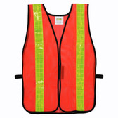 V120L GENERAL PURPOSE  NON-RATED  ORANGE MESH VEST  HOOK & LOOP CLOSURE  2-INCH LIME REFLECTIVE TAPE Cordova Safety Products
