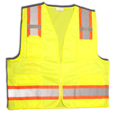 VS286-M CLASS II  LIME SURVEYORS VEST  SOLID FRONT AND MESH BACK  TWO-TONE CONTRASTING TRIM/REFLECTIVE STRIPES  ZIPPER CLOSURE  MULTIPLE POCKETS FOR PAD/PEN  RADIO/PHONE  FLASHLIGHT  DUAL MIC TABS Cordova Safety Products