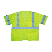 V3001XL COR-BRITE™ CLASS III  LIME MESH VEST  ZIPPER CLOSURE  2-INCH SILVER REFLECTIVE TAPE  POCKETS/TWO INSIDE LOWER  ONE OUTSIDE LOWER  CHEST WITH 4-DIVISION PEN POCKET Cordova Safety Products