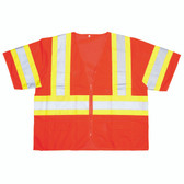 V32004XL COR-BRITE™ CLASS III  ORANGE MESH VEST  ZIPPER CLOSURE  TWO-TONE CONTRASTING TRIM/REFLECTIVE TAPE  POCKETS/TWO INSIDE LOWER  TWO OUTSIDE CHEST  TWO OUTSIDE LOWER Cordova Safety Products