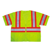 V32012XL COR-BRITE™ CLASS III  LIME MESH VEST  ZIPPER CLOSURE  TWO-TONE CONTRASTING TRIM/REFLECTIVE TAPE  POCKETS/TWO INSIDE LOWER  TWO OUTSIDE CHEST  TWO OUTSIDE LOWER Cordova Safety Products