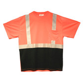 V450-M COR-BRITE™ CLASS II  ORANGE BIRDSEYE MESH T-SHIRT  SHORT SLEEVES  CHEST POCKET  2-INCH SILVER REFLECTIVE TAPE  BLACK FRONT PANEL Cordova Safety Products