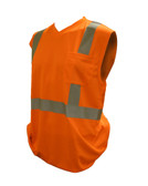 V420-M COR-BRITE™ CLASS II  ORANGE BIRDSEYE MESH T-SHIRT  SLEEVELESS  CHEST POCKET  2-INCH SILVER REFLECTIVE TAPE Cordova Safety Products