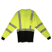 V501-4XL COR-BRITE™ CLASS III  LIME BIRDSEYE MESH T-SHIRT  LONG SLEEVES  CHEST POCKET  2-INCH SILVER REFLECTIVE TAPE  BLACK FRONT PANEL Cordova Safety Products