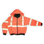 J220-XL REPTYLE™ CLASS III  ORANGE BOMBER JACKET  PU COATED POLYESTER SHELL  ATTACHED QUILTED LINING  CONCEALED/ATTACHED HOOD Cordova Safety Products