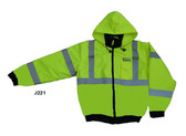 J221-M REPTYLE™ CLASS III  LIME BOMBER JACKET  PU COATED POLYESTER SHELL  ATTACHED QUILTED LINING  CONCEALED/ATTACHED HOOD Cordova Safety Products