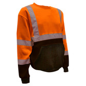SS100-M COR-BRITE™ CLASS III ORANGE CREW NECK SWEATSHIRT  300 GRAM POLYESTER FLEECE  BLACK POUCH POCKET  FRONT PANEL AND FOREARMS Cordova Safety Products