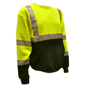 SS101-L COR-BRITE™ CLASS III LIME CREW NECK SWEATSHIRT  300 GRAM POLYESTER FLEECE  BLACK POUCH POCKET  FRONT PANEL AND FOREARMS Cordova Safety Products