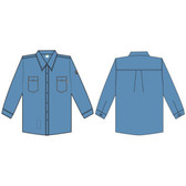 FZ200LBM FOREFRONT™ FR SHIRT  LIGHT BLUE  7 OZ FIREZERO® TWILL FABRIC  BUTTON DOWN COLLAR  FLAP CHEST POCKETS  SIZE M Cordova Safety Products