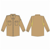 FZ210KHL FOREFRONT™ FR VENTED SHIRT  KHAKI  7 OZ FIREZERO® TWILL FABRIC  BUTTON DOWN COLLAR  FLAP CHEST POCKETS  SIZE L Cordova Safety Products