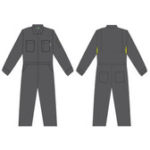 FZ110GY52 FOREFRONT™ FR VENTED COVERALL  GRAY 7 OZ FIREZERO® TWILL FABRIC  FLAP CHEST POCKETS  ZIP FRONT  CHEST SIZE 52 Cordova Safety Products