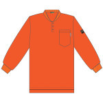FZ300ORM FOREFRONT™ FR HENLEY  ORANGE  6.5 OZ FIREZERO® INTERLOCK FABRIC  3-BUTTONS  CHEST POCKET  SIZE M Cordova Safety Products