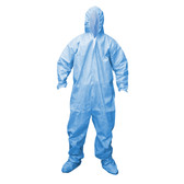 FRC3003XL DEFENDER FR™ BLUE LIMITED FLAME RESISTANT COVERALL  ELASTIC WRISTS & BACK WITH HOOD Cordova Safety Products