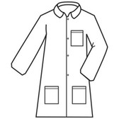 MPLAB200L DEFENDER II™  WHITE MICROPOROUS LABCOAT WITH 4-SNAP FRONT & COLLAR  3 POCKETS  OPEN WRISTS Cordova Safety Products