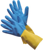 "41-0038  - BLUE NEOPRENE OVER YELLOW LATEX 13""  CHEMICAL RESISTANT GLOVES"
