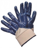96-6110  -  SMOOTH FINISH BLUE NITRILE COATED      WITH OPEN BACK CANVAS CUFF  CHEMICAL RESISTANT GLOVES
