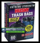 Husky HK33WC060B Trash Bag Black, 33 Gallon