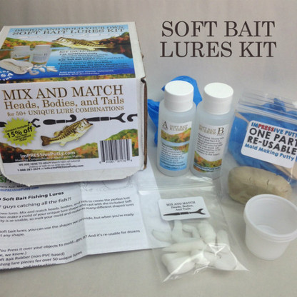 Soft Bait Fishing Lures Kit includes all you need to get started making your own lures. Mix and match heads, bodies, and tails to make the perfect lure for your needs. Then go catch the one that got away!
