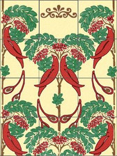 Art Nouveau Birds Tile Mural 4.25""