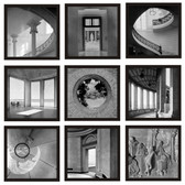 black and white archetectural elements art tile set