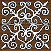 brown scroll artistic tile ceramic backsplash, decorative tile design by Connie's Custom Creations