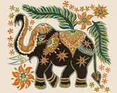 Elephant Batik Art Tile, Art On Tile