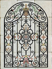 iron scroll stone tile mural, decorative tile designs by connies custom creations