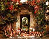 Welcome Sign Tuscan Art Tile