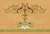 peacock art nouveau ceramic tile mural