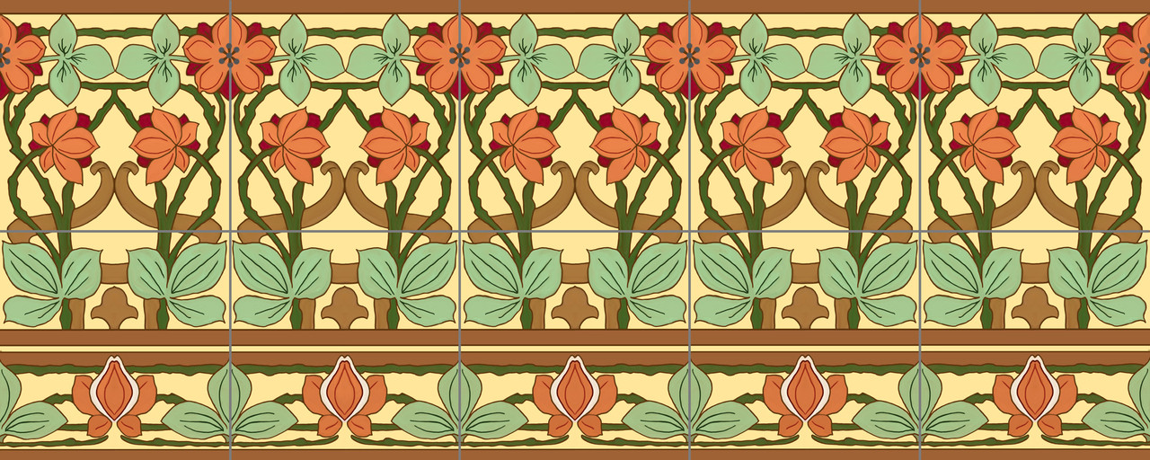 Nouveau seasons decorative tile mural 30 for your kitchen for Art nouveau tile mural
