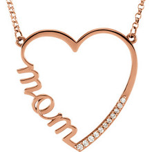 "Loving 14k Gold ""Mom"" diamond accent heart necklace. This necklace is a beautiful sentimental gift. Heart measures 28mm x 28mm and this necklace is available in 14k Rose, White, or Yellow gold.  Accent diamonds total 1/10 ctw.  This necklace measures 16 inches in length."