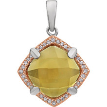 The cushion-cut citrine brings sunshine to any day in this impressive pendant for her. Diamond accents set in 14K Rose Gold Plated/Sterling Silver frame the center.