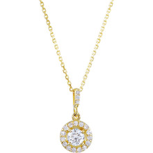 14 karat yellow gold diamond necklace featuring shimmering white diamonds which articulate beautifully. The total carat weight of white diamonds is 3/4 carat.