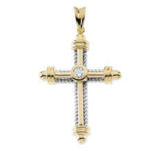 Love for religion is truly something to celebrate. In sparkling 14K yellow gold with a round full cut diamond. This cross is polished to a brilliant shine. This cross has a total diamond weight of 1/3.