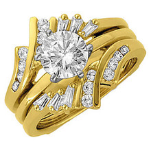 Product Specification  Quality: 14K Yellow Gold  Jewelry State: Complete With Stone  Total Carat Weight: 3/8  Ring Size: 06.00  Stone Type: Diamond  Stone Shape: Round & Baguette  Stone Color: G-H-I  Stone Clarity: SI2-SI3  Weight: 6.00 grams  Finished State: Polished