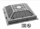 "WATERWAY | 9"" x 9"" SQUARE FRAME AND GRATE, DARK GRAY 