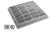 "WATERWAY | 12"" x 12"" SQUARE FRAME AND GRATE, GRAY 