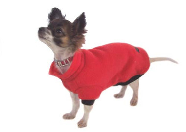 Gorgeous little Lilly shows off her new red polar fleece dog jumper