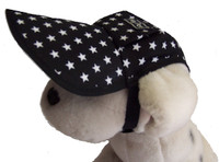 Dog hat - black with white stars - cotton