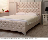 Ferrara Wing Bed Frame. Available in Crush Velvet, Chenille, Linen or Faux Suede Fabrics