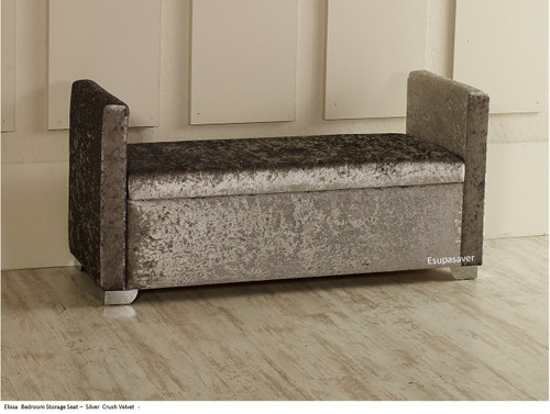 Elissa Ottoman Storage Box Seat Available In Crush Velvet Chenille Linen Or Faux Suede Fabrics